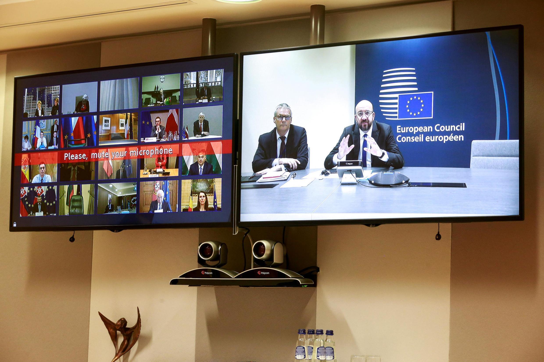 Chủ tịch Hội Đồng Châu Âu Charles Michel trong phiên họp qua video với các lãnh đạo Châu Âu  lần đầu về khủng hoảng dịch virus corona, ngày 10/03/2020.