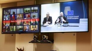 El presidente del Consejo Europeo Charles Michel, en conferencia con los dirigentes de la UE, el pasado 10 de marzo de 2020.
