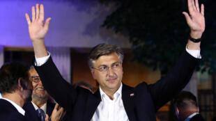 Le Premier ministre sortant Andrej Plenkovic à l'annonce des résultats des législatives, à Zagreb le 5 juillet 2020.