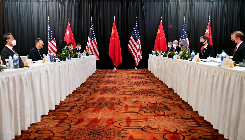 美中兩國官員阿拉斯加會晤資料圖片