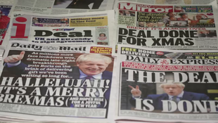British newspaper headlines hailing the Brexit trade deal between the UK and EU.