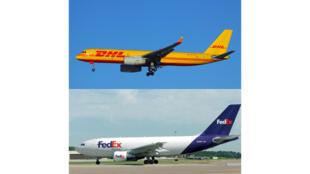 Avions de messagerie express pour DHL et FedEx : un Tupolev Tu-204C de DHL et un Airbus A310-200 de Fedex.
