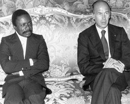 Entretien entre Omar Bongo et son homologue français, Giscard d'Estaing à l'Élysée, le 4 novembre 1977.