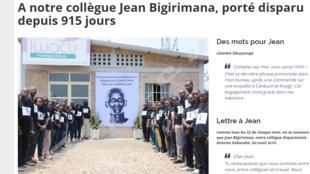 Capture d'écran de la page du site du journal Iwacu rendant hommage au journaliste Jean Bigirimana.