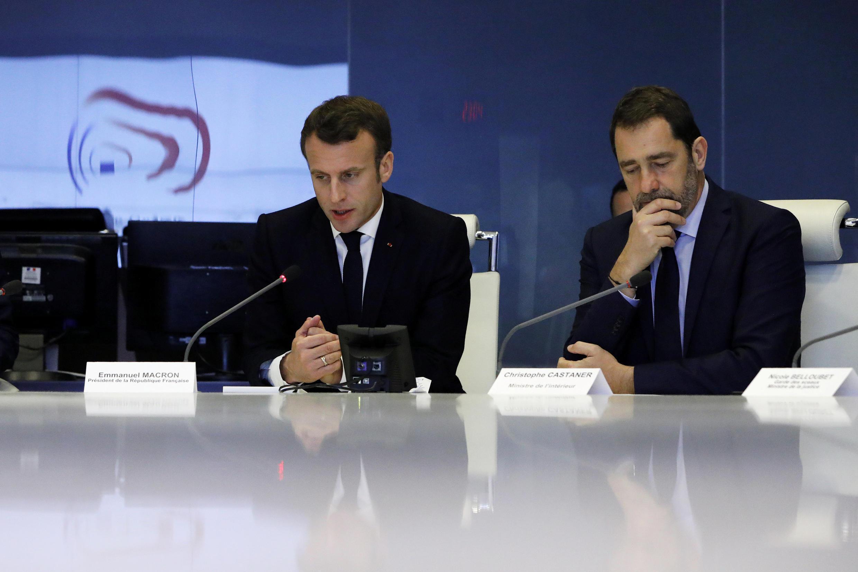Ministro do Interior, Christophe Castaner, no conselho de crise com o Presidente Macron, após violência nos Campos Elísios