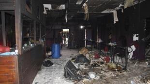 Interior da boate Kiss, incediada no dia 27 de janeiro de 2013. A discoteca Kiss foi totalmente destruída pelo fogo.