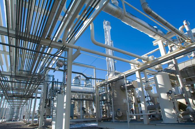 Une raffinerie de gaz.