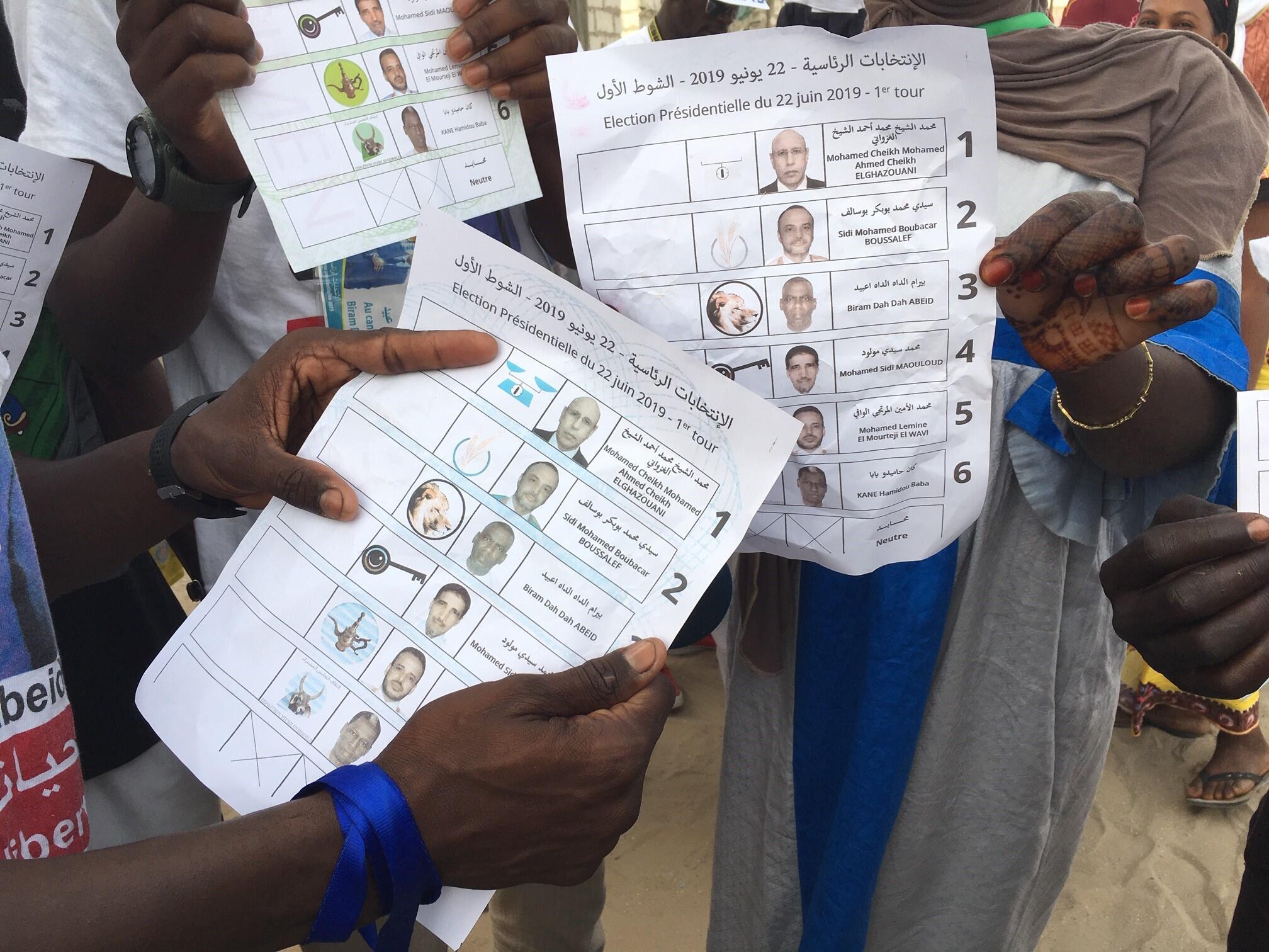 Boletins de voto para a primeira volta das presidenciais deste 22 de Junho na Mauritânia.