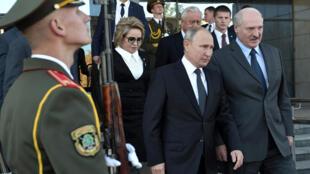 Владимир Путин и Александр Лукашенко в Могилеве, 12 октября 2018.