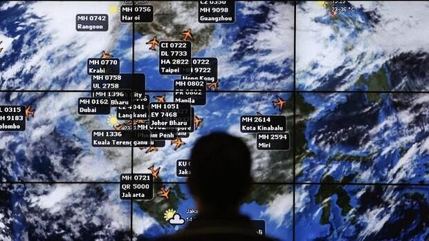 Observação do trajeto efetuado pelo voo MH370 da Malaysia Airlines.