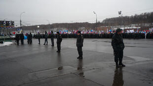 A Moscou, manifestation des partisans de Poutine, le 23 février 2012.
