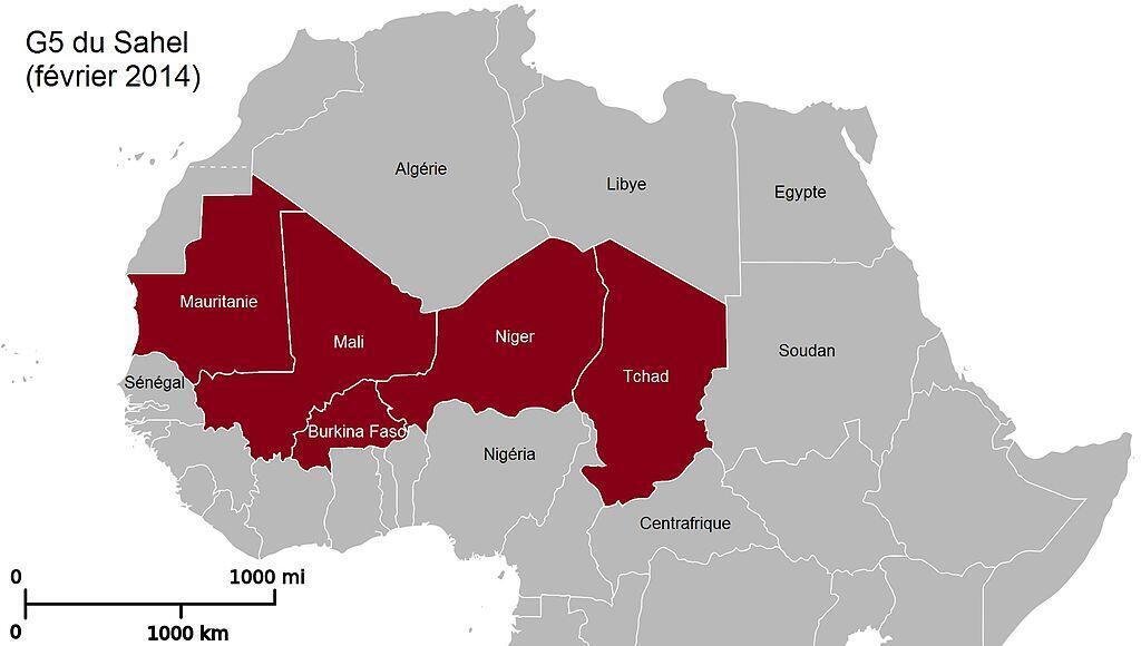 Les pays du G5 Sahel.