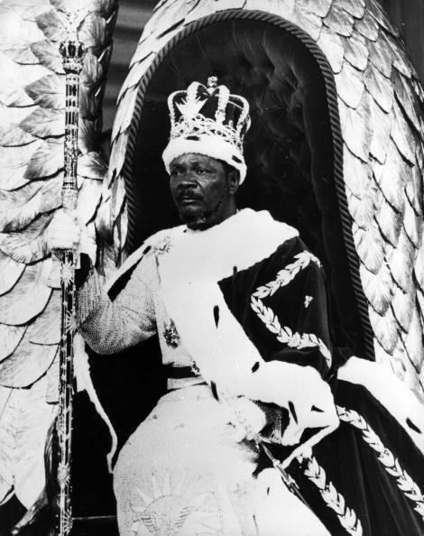 Jean-Bedel Bokassa, président de la République centrafricaine de 1966 à 1976, puis autoproclamé empereur sous le nom de Bokassa 1er, le 4 décembre 1977.