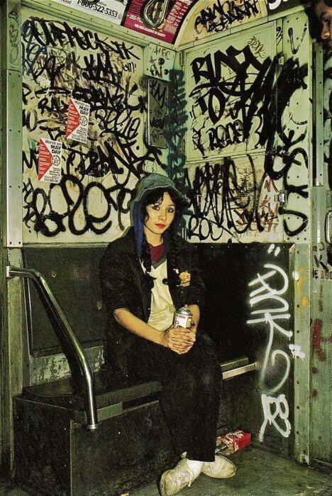 Reprodução de um grafitti da década de 1980 no metrô de Nova York