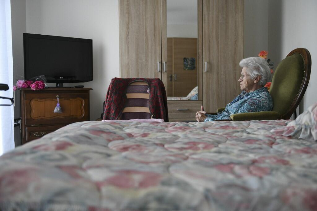 Denise looks on in her room on 20 November, 2018, at the Ages et Vie retirement home in Besancon, eastern France