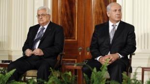 Mahmoud Abbas e Benjamin Netanyahu em Washington em 2 de setembro 2010.