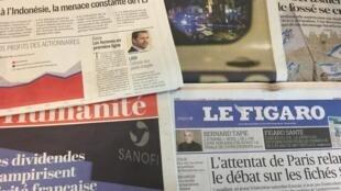 Primeiras páginas dos diários franceses de 14/05/2018.