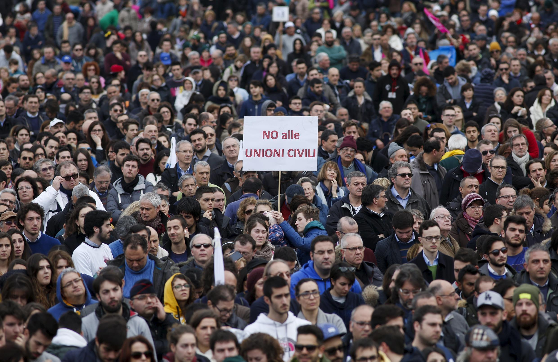 Манифестация противников закона. Рим. 30.01.2016