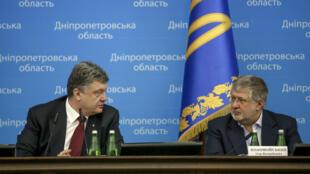 Президент Украины Пётр Порошенко и Игорь Коломойский, Днепропетровск, 26 марта 2015.