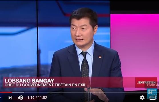 西藏流亡政府司政洛桑森格接受法國24小時電視France24專訪 2018 1 28