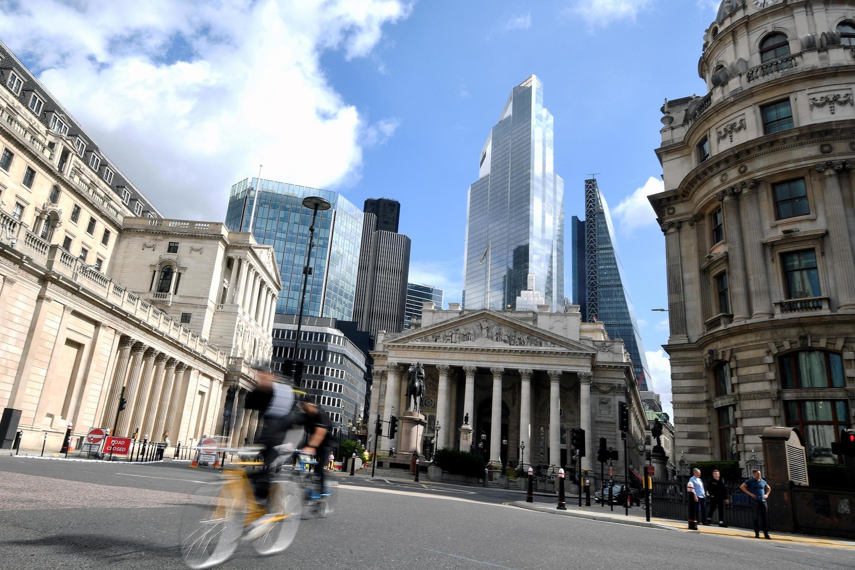 Une vue du quartier presque vide de la City à Londres près de la station de métro Bank, le 4 septembre 2020.