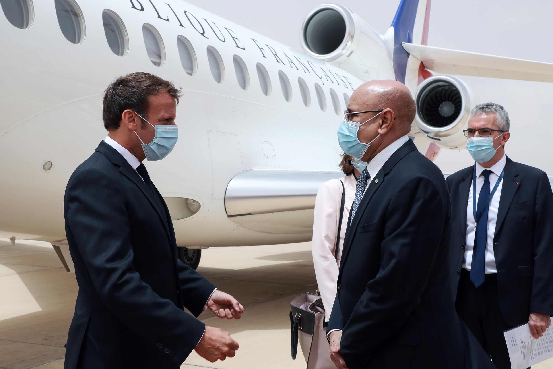 Nouakchott welcome: French President Emmanuel Macron, left, and Mauritanian President Mohamed Ould Ghazouani