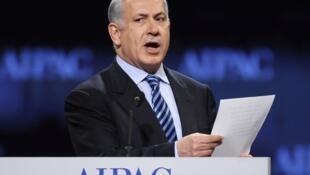 O primeiro-ministro Benjamin Netanyahu durante seu discurso na AIPAC, principal lobby judaico dos Estados Unidos.