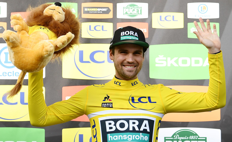 L'Allemand Maximilian Schachmann (Bora) a préservé son maillot jaune de leader à l'issue de la 6e étape de Paris-Nice, entre Sorgues et Apt, le 13 mars 2020