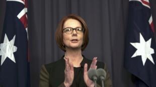 Thủ tướng Úc Julia Gillard phát biểu với báo giới sau cuộc bỏ phiếu tín nhiệm trong đảng Lao đông 26/6/2013.