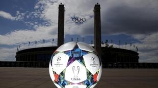 The official match ball for the Uefa Champions League final in front of the Olympic stadium in Berlin