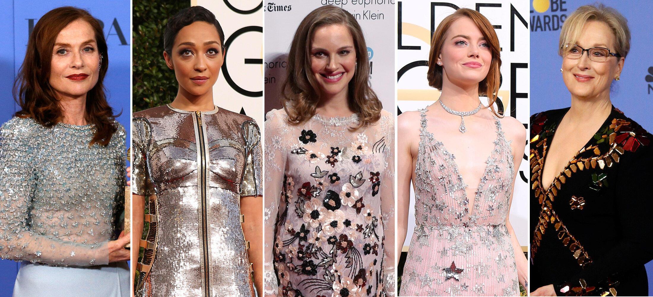As atrizes Isabelle Huppert, Ruth Negga, Natalie Portman, Emma Stone e Meryl Streep