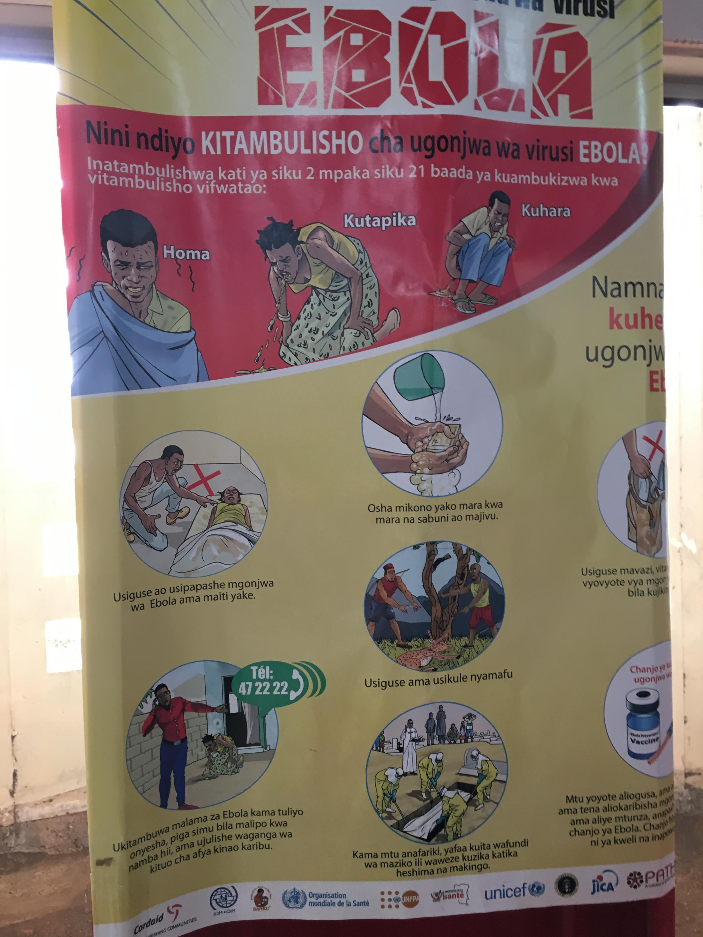 One of the many red-and-yellow Ebola posters in Kiswahili thoughout North Kivu, DRC