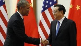 Le président américain Barack Obama et le Premier ministre chinois Li Keqiang en novembre 2014 à Pékin.