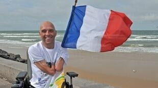 Philippe Croizon in northern France after swimming the Channel