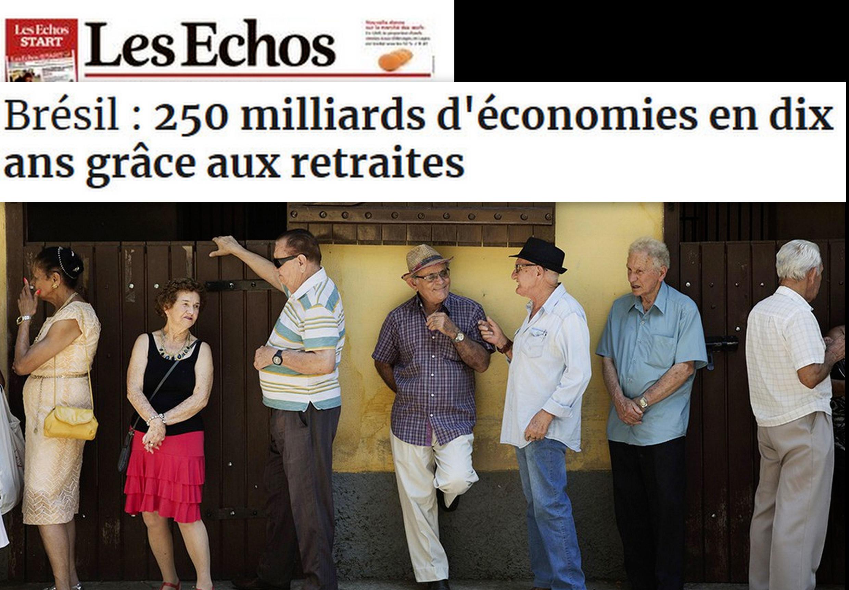 Les Echos repercute apresentação do projeto de reforma da previdência do governo Bolsonaro.