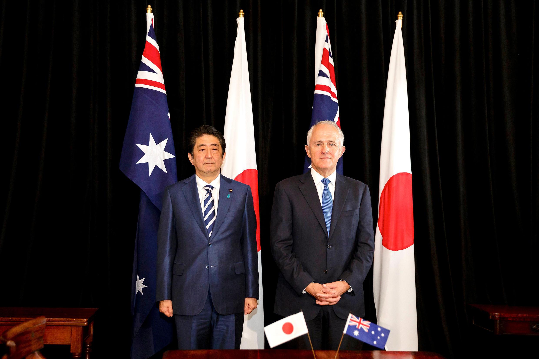 លោកប្រមុខរដ្ឋាភិបាលជប៉ុន Shinzo Abe និងសមភាគីអូស្រា្តលីលោក Malcolm Turnbull