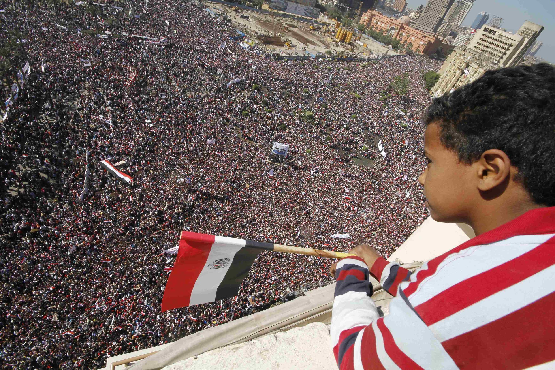 Vista da Praça Tahrir no Cairo durante a «marcha da vitória», 18 de Fevereiro de 2011.