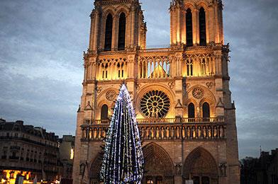 La cathédrale Notre-Dame-de-Paris, peu avant Noël.