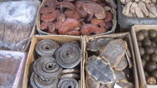 Một số đông dược được bày bán tại chợ ở Tây An.