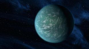 Ilustração do que seria o Kepler22b, planeta situado em outro sistema com características similares ao da Terra.