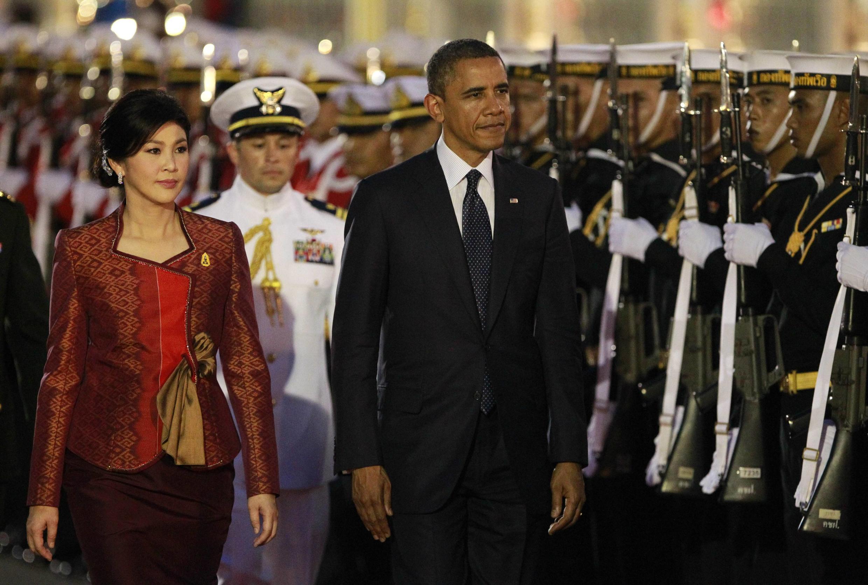 Thủ tướng Thái Yingluck tiếp đón tổng thống Mỹ Obama (REUTERS)