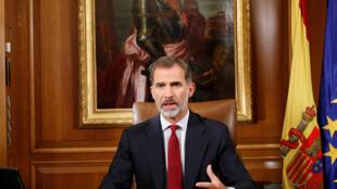 Le roi d'Espagne Felipe VI a prononcé son allocution depuis le palais royal de la Zarzuela à Madrid, le 3 octobre 2017.