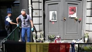 Políce at the Brussels Jewish Museum aftre the shootings
