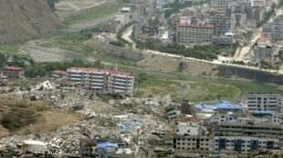 Một cảnh thành phố Bắc Xuyên, tỉnh Tứ Xuyên, sau động đất 12/05/2008.