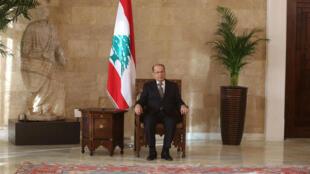 Le président libanais, Michel Aoun, photographié au palais présidentiel de Baabda, le 31 octobre 2016.