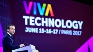 法國總統馬克龍在Vivatech沙龍開幕式上講話