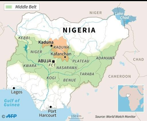 Map of Nigeria locating Kaduna state