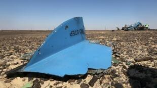 Restos do  Airbus 321 russo na região de  Hassana , no norte do Egipto, 1 de Novembro 2015