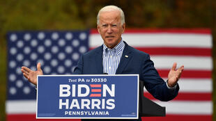 Out of 3,097 people polled across 18 Middle East and North African countries, around 39 percent favoured Democratic presidential candidate Joe Biden (pictured October 24, 2020) while only 12 percent opted for US President DonaldTrump