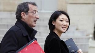 François Lamy, alors ministre délégué à la Ville en compagnie de Fleur Pellerin, ancienne ministre déléguée aux PME, à l'Innovation et à l'Économie numérique, en février 2014.